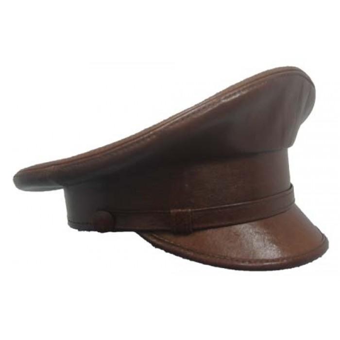 Фуражка из коричневой кожи, по образцу заказчика