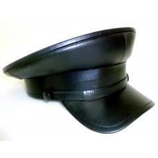 Черная кожаная фуражка образца 30-40 годов
