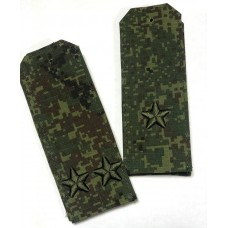 Погоны зеленая цифра с объемной 3Д вышивкой звезд, 063