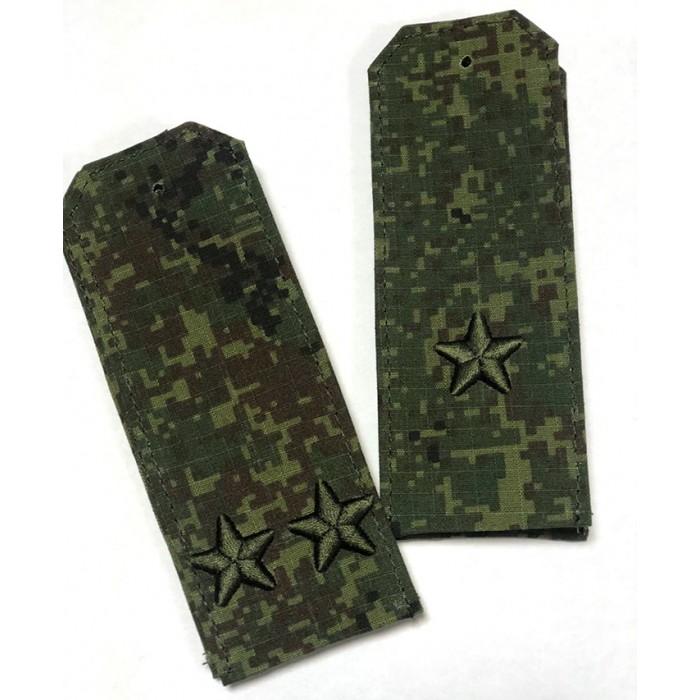 Погоны камуфляжные зеленая цифра с объемной 3Д вышивкой звезд