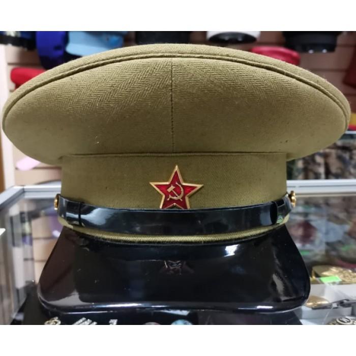 Фуражка ВОВ РККА цвет хаки с красной звездой