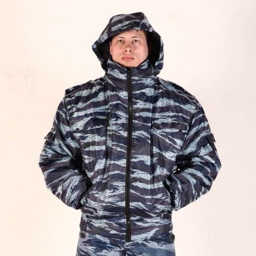 Куртка укороченная Пилот камуфлированная (капюшон в воротнике) - черная