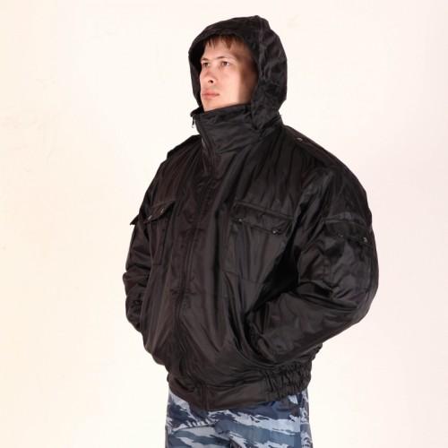 Куртка укороченная Пилот (капюшон в воротнике) - черная
