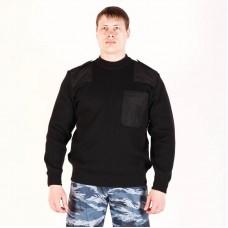 Свитер черный Охрана с накладками