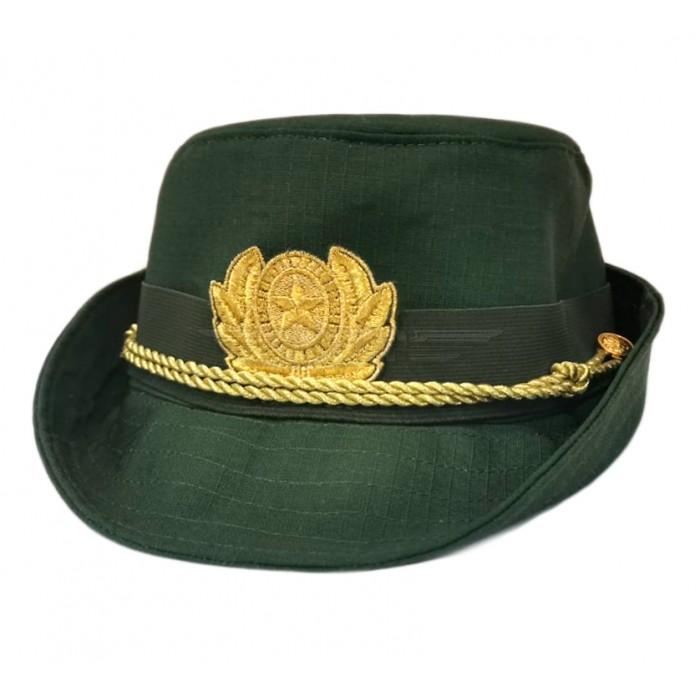 Шляпа женская офисная повседневная оливковая c вышитой кокардой ВС РФ